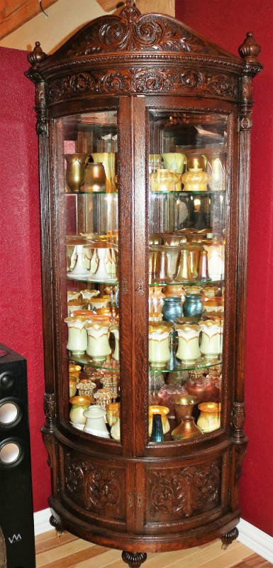 This Red Carved Quarter Swan Oak China Cabinet Is Amazing In Every Way It Has S Original Beveled Glass Doors Mirrored Back Fantastic Crest